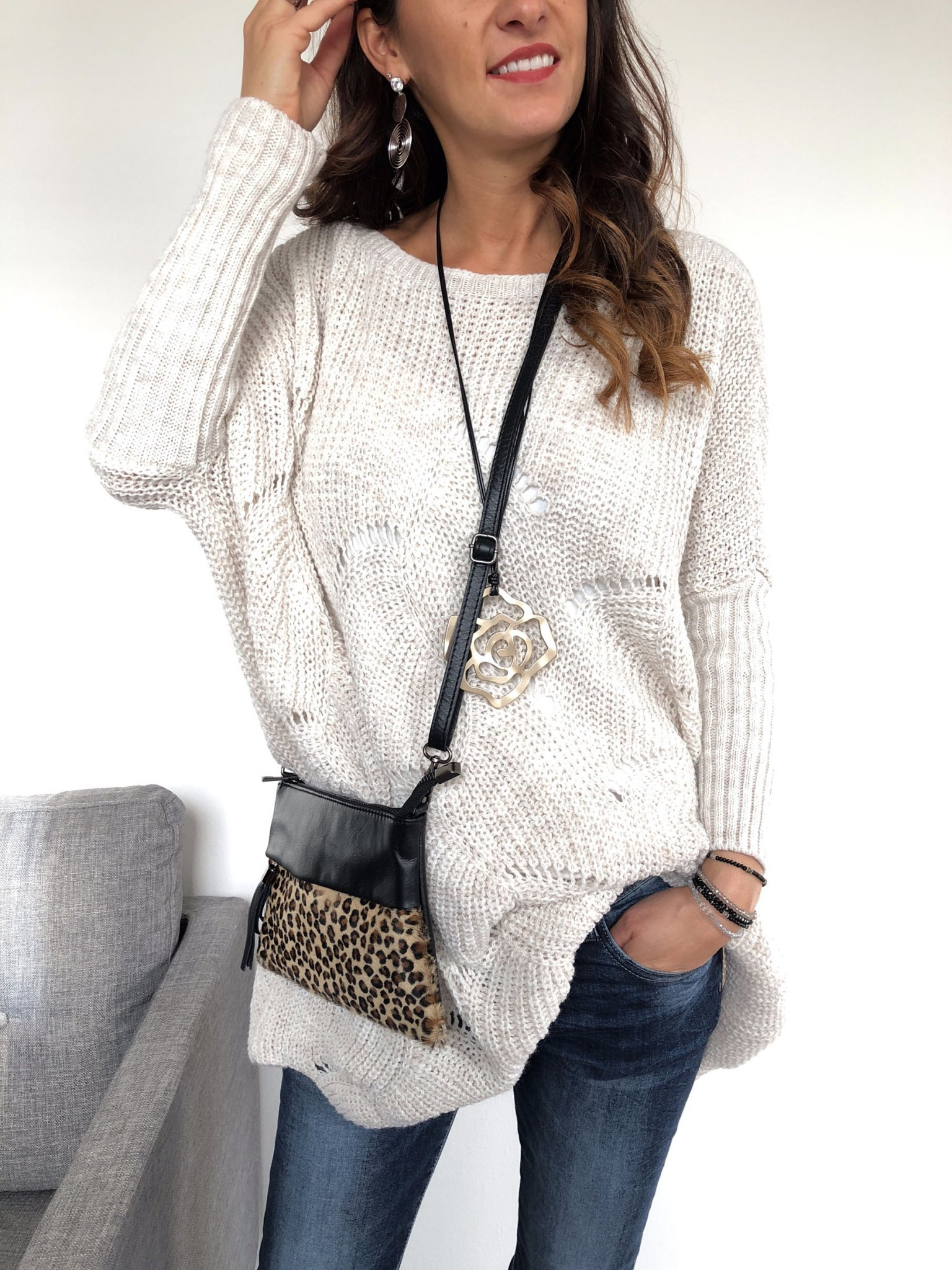 get cheap 6a517 7bb39 Oversize-Strickpullover mit Cut-outs