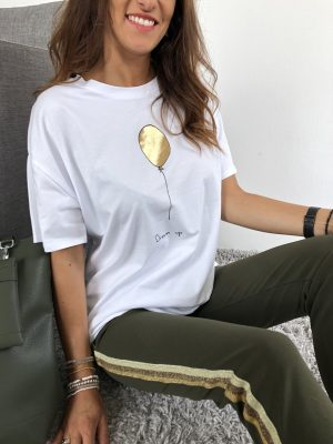 Oversize-T-Shirt Stretch Ballon gold-metallic - Viarella italienische Damenmode